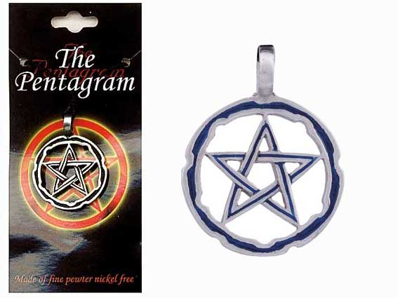 PENTAGRAM Pewter Pendant - style 7 - Click Image to Close